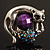 Burn Silver Purple Diamante Cat & Mouse Stretch Ring - view 7