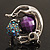 Burn Silver Purple Diamante Cat & Mouse Stretch Ring - view 8