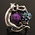 Burn Silver Purple Diamante Cat & Mouse Stretch Ring - view 9