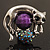 Burn Silver Purple Diamante Cat & Mouse Stretch Ring - view 4