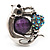 Burn Silver Purple Diamante Cat & Mouse Stretch Ring - view 5