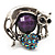 Burn Silver Purple Diamante Cat & Mouse Stretch Ring