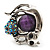 Burn Silver Purple Diamante Cat & Mouse Stretch Ring - view 11