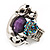 Burn Silver Purple Diamante Cat & Mouse Stretch Ring - view 3