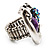 Burn Silver Purple Diamante Cat & Mouse Stretch Ring - view 6