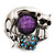 Burn Silver Purple Diamante Cat & Mouse Stretch Ring - view 12