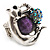 Burn Silver Purple Diamante Cat & Mouse Stretch Ring - view 2