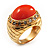 Gold Plated Orange Resin Dome Ring - Size 7