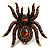 Oversized Amber Coloured Crystal Spider Stretch Cocktail Ring (Antique Gold Tone)
