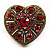 Large Antique Gold Red Crystal Heart Ring - Size 8/9 (Adjustable)