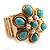 Turquoise Style Flower Stretch Ring (Gold Tone Metal)