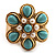 Turquoise Style Flower Stretch Ring (Gold Tone Metal) - view 3