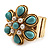 Turquoise Style Flower Stretch Ring (Gold Tone Metal) - view 4