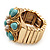 Turquoise Style Flower Stretch Ring (Gold Tone Metal) - view 5