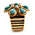 Turquoise Style Flower Stretch Ring (Gold Tone Metal) - view 7