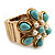 Turquoise Style Flower Stretch Ring (Gold Tone Metal) - view 8