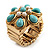 Turquoise Style Flower Stretch Ring (Gold Tone Metal) - view 9