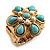 Turquoise Style Flower Stretch Ring (Gold Tone Metal) - view 2