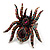 Oversized Multicoloured Crystal Spider Stretch Cocktail Ring (Silver Tone) - view 6