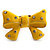Large Bright Yellow Enamel Crystal Bow Stretch Ring (Size 7-9) - view 3