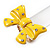 Large Bright Yellow Enamel Crystal Bow Stretch Ring (Size 7-9) - view 10