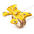 Large Bright Yellow Enamel Crystal Bow Stretch Ring (Size 7-9) - view 6