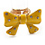 Large Bright Yellow Enamel Crystal Bow Stretch Ring (Size 7-9) - view 11