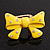 Large Bright Yellow Enamel Crystal Bow Stretch Ring (Size 7-9) - view 2
