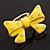 Large Bright Yellow Enamel Crystal Bow Stretch Ring (Size 7-9) - view 5