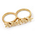 Gold Plated Double Finger 'Five Star' Ring - Size 7&8 - view 10