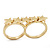 Gold Plated Double Finger 'Five Star' Ring - Size 7&8 - view 2