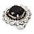 Jet Black Round-Cut CZ Flower Ring In Rhodium Plated Metal - 3cm Diameter