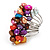 Wide Chunky Multicoloured Freshwater Pearl Ring (Silver Plated Metal) - view 2