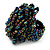 Peacock Coloured Glass Bead Flower Stretch Ring - view 3