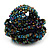 Peacock Coloured Glass Bead Flower Stretch Ring - view 4