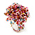 Multicoloured Glass Bead Flower Stretch Ring (Pink, Red & Light Blue) - view 4