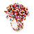 Multicoloured Glass Bead Flower Stretch Ring (Pink, Red & Light Blue) - view 1