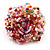 Multicoloured Glass Bead Flower Stretch Ring (Pink, Red & Light Blue) - view 2
