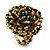 Large Multicoloured Glass Bead Flower Stretch Ring (Olive Green, Black & Brown)