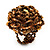 Gold/Brown Glass Bead Flower Stretch Ring - view 5