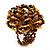 Gold/Brown Glass Bead Flower Stretch Ring - view 6