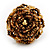 Gold/Brown Glass Bead Flower Stretch Ring - view 2