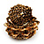 Gold/Brown Glass Bead Flower Stretch Ring - view 3