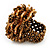Gold/Brown Glass Bead Flower Stretch Ring - view 4