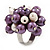 Freshwater Pearl & Bead Cluster Silver Tone Ring (Purple & Ivory) - Adjustable