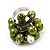 Freshwater Pearl & Bead Cluster Silver Tone Ring (Green & Ivory) - Adjustable - view 2