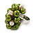 Freshwater Pearl & Bead Cluster Silver Tone Ring (Green & Ivory) - Adjustable - view 3