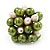 Freshwater Pearl & Bead Cluster Silver Tone Ring (Green & Ivory) - Adjustable - view 4