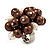 Freshwater Pearl & Bead Cluster Silver Tone Ring (Chocolate & Ivory) - Adjustable