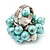Freshwater Pearl & Bead Cluster Silver Tone Ring (Light Blue & Light Cream) - Adjustable - view 3